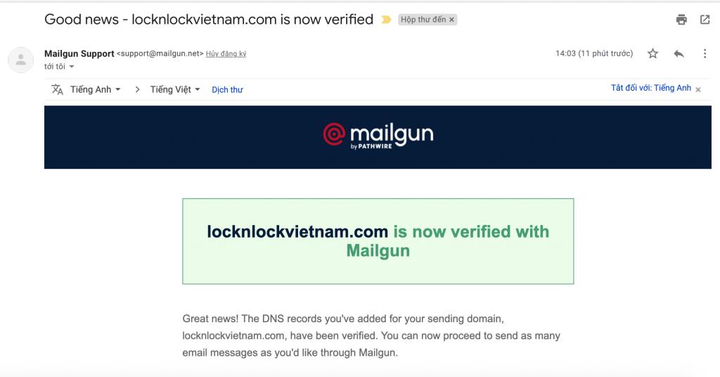 Tạo tài khoản mailgun miễn phí 30.000 email/tháng
